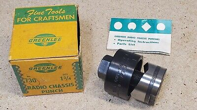 Greenlee No. 730 - 1 34 Punch And Die Set - Radio Chassis Punch - Knockout