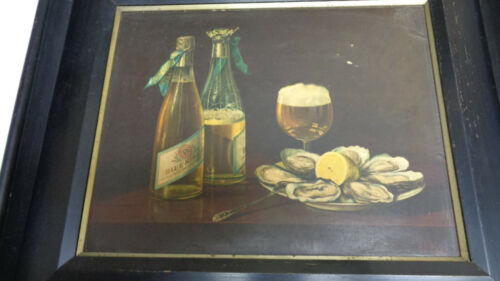 Pabst Blue Ribbon Pre-pro advertising print Oysters & Beer framed
