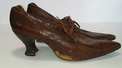 Antique Lace up Brown women's shoes vintage heels 3 inch heels  ()