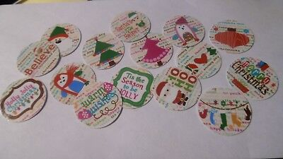 Pre Cut One Inch Bottle Cap Images  Christmas Santa Snow Ornaments Free Ship