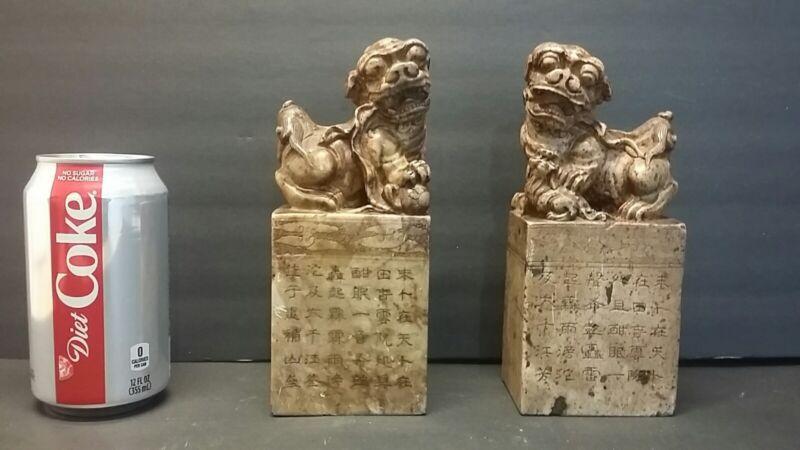 "Pair Antique Vintage Chinese Stone Foo Dog Statue Seal Stamp Signet Verse - 7"""