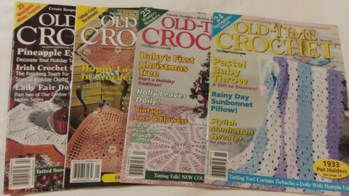 Lot of 4 Old Time Crochet Magazines 1999 to 2001 Doilies Filet Bedspread Tatting