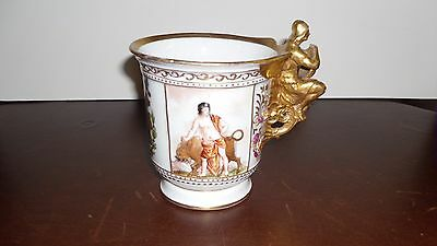 ANTIQUE VICTORIAN MUG w/CREST and HEAVY GOLD HANDLE