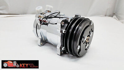 Chrome Sanden 508 style AC air conditioning compressor V belt hot street rod