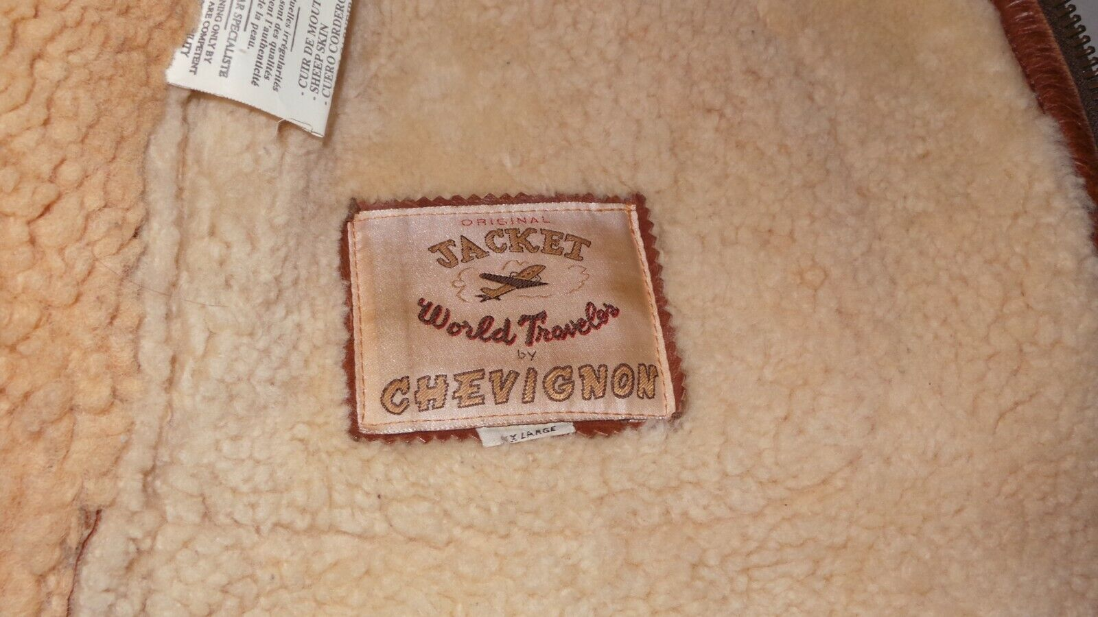 Bombardier vintage xxl chevignon xx rare pilot b3 mouton veritable