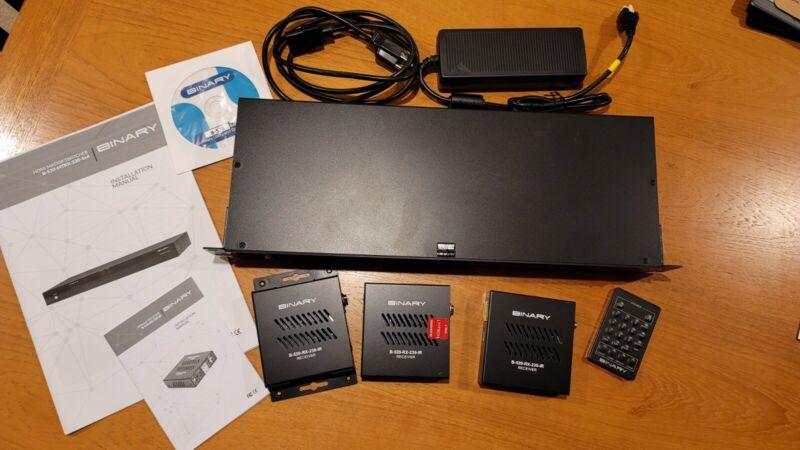 Binary 520 HDMI Matrix Switcher B-520-MTRX-230-4X4 With 3 Receivers