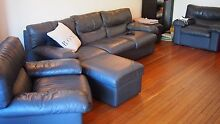 5 Piece Charcoal Grey Leather Couch Suite Point Piper Eastern Suburbs Preview