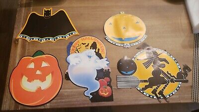 Vintage Lot Of 5 Halloween Paper Cutouts Pumpkin Bat ghost Witch 2 sided decor