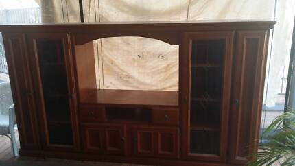 Tv unit stained timber Cranebrook Penrith Area Preview