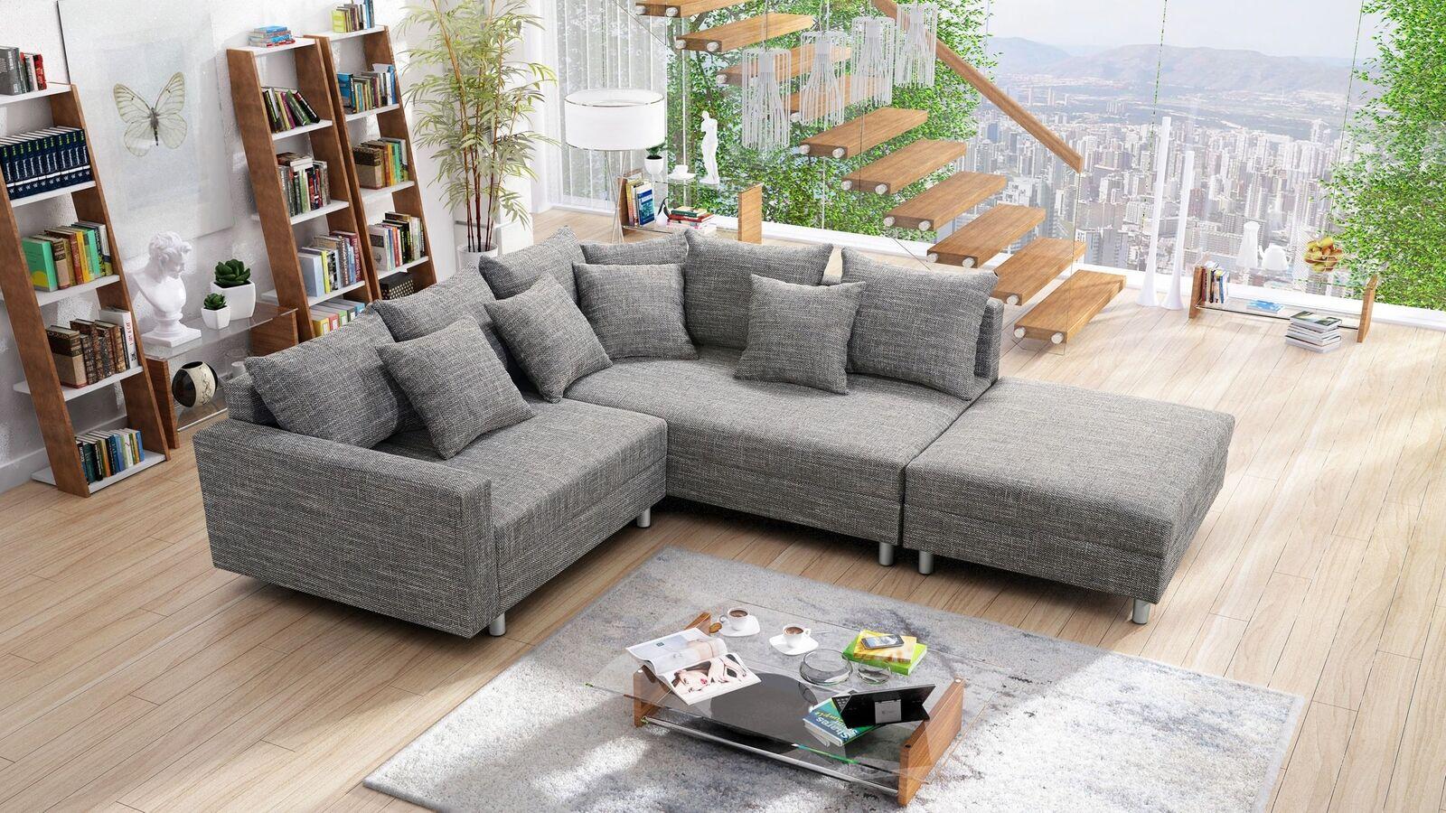 Modernes Sofa Couch Ecksofa Eckcouch in Gewebestoff hellgrau mit Hocker Minsk R