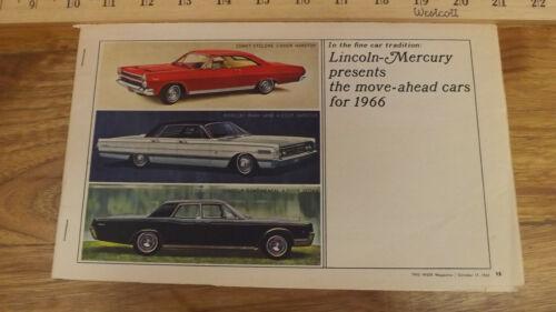Rare 1966 Lincoln Mercury Newspaper Ad Insert Comet,Park Lane, Continental