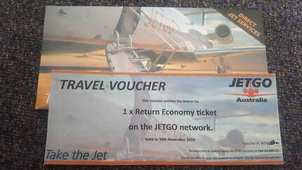 1× jetgo voucher from wollongong to brisbane or melbourne return