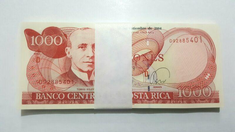 Costa Rica: 1000 Colones 2004, UNC Bundle Lot x 50 Notes Consecutives, P-264e