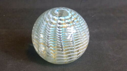 Vintage Murano Paperweight Blue & Gold Spiral Swirl Italy NICE!