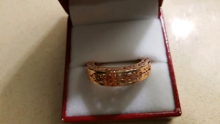 14K Stamped Rose Gold Filigree Ring - Beautiful!