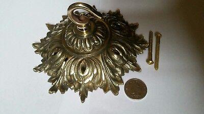 ANTIQUE CEILING ROSE 150mm French chandelier hook OLD cast brass c1900 STUNNER