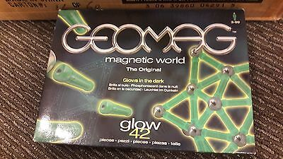 NIB PLASTWOOD GEOMAG 42 pc. Glow in the Dark Sealed Magnetic Toy MADE IN ITALY