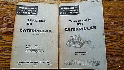 Vintage 2 Caterpillar Bulldozer Tractor D8 977 Diesel Motor Part Catalog French