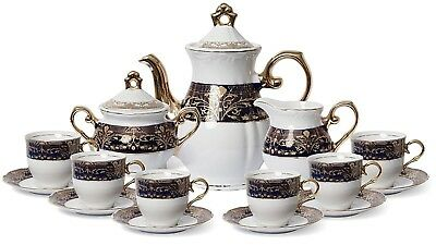 Euro Porcelain 17-pc Coffee/Tea Set for 6, Luxury Dinnerware Service w/ 24K Gold
