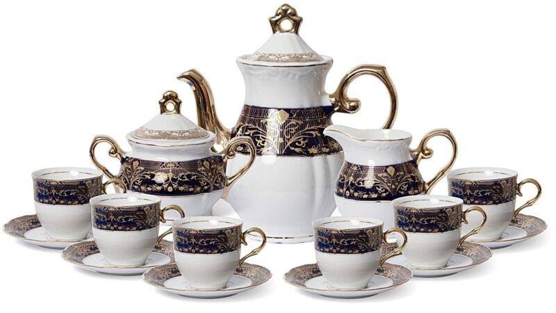 Euro Porcelain 17-pc Coffee/Tea Set for 6 Luxury Dinnerware Service w/ 24K Gold