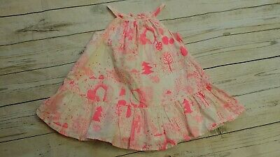 Gap 12-18 Month Girl Woodland Mushroom Rabbit Bear Neon Pink White Dress