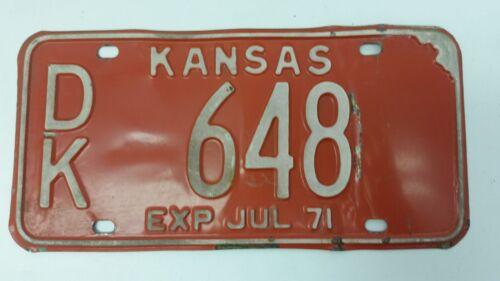 1970 KANSAS Dickinson County License Plate DK 648