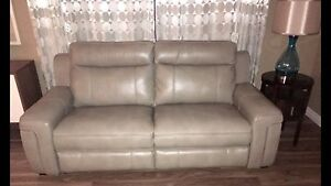 New 3piece power reclining pewter leather couch set w/5USB plugs