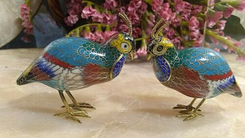 "2""IN VINTAGE PAIR OF  CLOISONNE QUAIL"