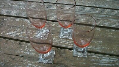 - Vintage Crystal Peach Colored Square Footed Wine Champagne Beer Glasses NICE!