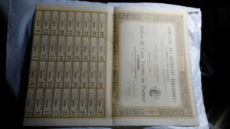 FRANCE COMPAGNIE DES TRAMWAYS ELECTRIQUES 100 FRANCS BOND CERTIFICATE, 1899