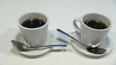 Fake Food Wax Hot Coffee (Set of 2) Shop Cup Saucer Spoon Staging Prop Theater