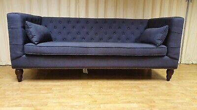 Flynn 3 Seat Sofa, Atlantic Blue Linen Mix MADE.COM