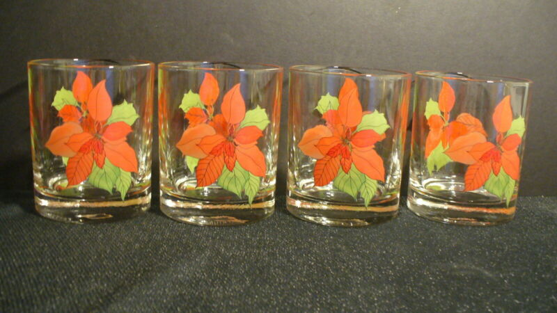 """Block Watercolors Poinsettia 3 3/4"""" Old Fashioned 8 ounce Glasses - 4"""