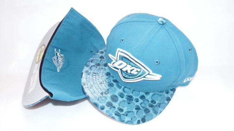 NWT NEW ERA HAT CAP FITTED OKLAHOMA CITY THUNDER SIZE 7 1/8 PEBBLE VISOR BLUE