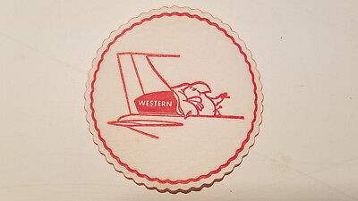 Vintage WAL -  Western Airlines Wally Bird First Class Drink Coaster - 5 pack