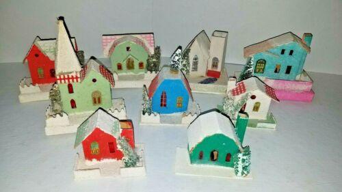 Vintage Group 9 Different Putz Cardboard Coconut Mica Christmas House Village