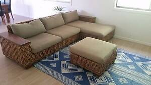 Rattan lounge with chaise & ottoman Pacific Paradise Maroochydore Area Preview