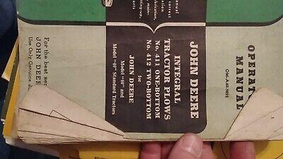John Deere 411 412 1 2 Bottom Integral Plow 40 Tractor Operator Parts Manual