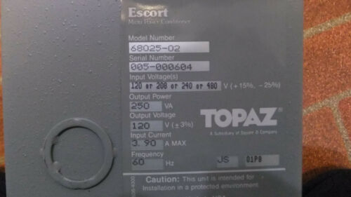 SQUARE D TOPAZ 68025-02 LINE CONDITIONER/ISOLATION TRANSFORMER