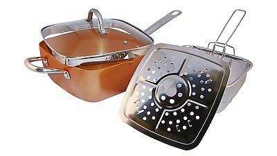Copper Square Pan Induction For Chef Glass Lid Fry Basket Steam Rack 4Piece Set