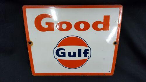 Vintage Square Good Gulf Metal Advertising Sign