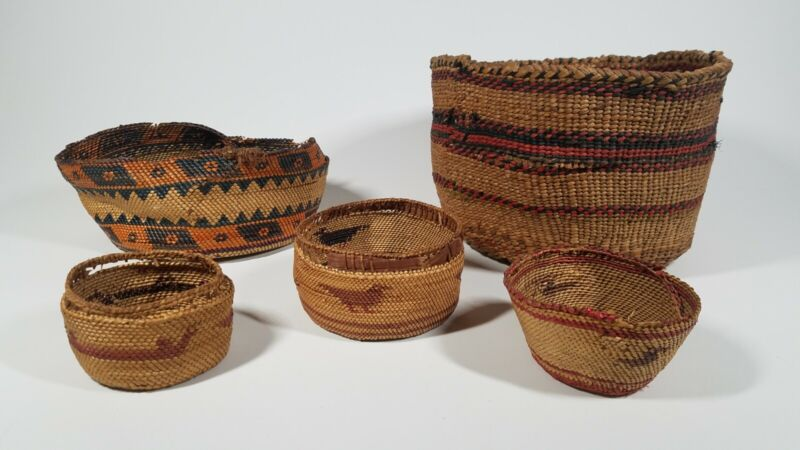 NATIVE AMERICAN INDIAN HAND WOVEN BASKET LOT, NOOTKA & OTHER N.W. TRIBES