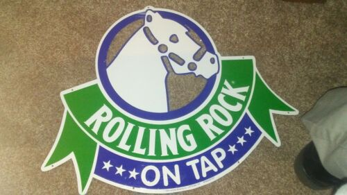 Vintage Rolling Rock Beer Tin On Tap Bar Sign 1992 🐎