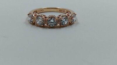 Diamonique Rose - Diamonique Textured Band Ring, Rose Gold Clad