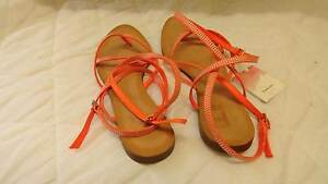 New Strappy Sandals, Fluro Orange Colour, Silver Studs Gordonvale Cairns City Preview