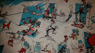 LINED VALANCE 42X15 DR SEUSS CAT IN THE HAT STORY BOOK THING ONE FISH TWO FISH