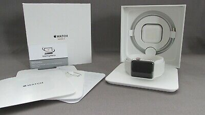 Apple Watch Series 3 42mm Stainless Steel with White Sport Band - GPS + Cellular