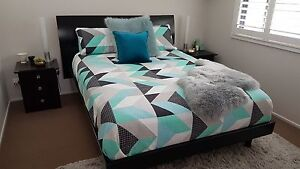 QUEEN BED SUITE BLACK-(RRP $2000) Harvey Norman - exc. cond. Erina Gosford Area Preview