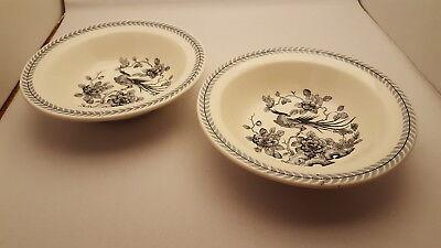 2 Globe Pottery Shelton Egland Restaurant Ware Bird Pattern Art Deco Rim Bowls