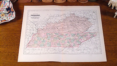 Original 1892 Antique Map TENNESSEE Chattanooga Knoxville Nashville Memphis TN